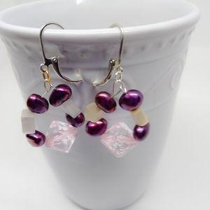Purple hoop Earrings Natural Gemstone Earrings